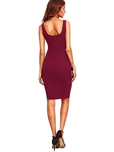 Scoop Basic Sleeveless Neck Burgundy Bodycon Women's MakeMeChic Tank Mini 1 Dress n1wxqF5CT