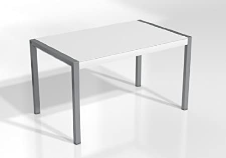 Mesa Extensible Concept - Encimera Cristal Blanco Mate/Patas Aluminio, 120X80 cms: Amazon.es: Hogar