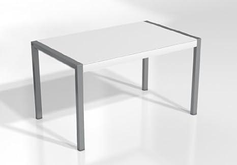 MESA EXTENSIBLE CONCEPT - Encimera Cristal Blanco Mate /Patas Aluminio, 120X80 cms, (Varios colores disponibles)