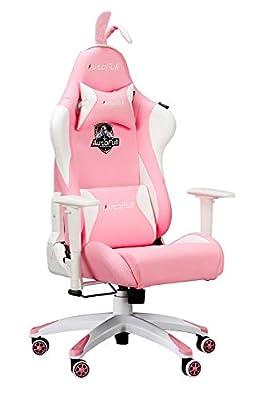 AutoFull Pink Kawaii Computer Gaming Chair Cute Sakura Base Customized Armrest Fashion Ergonomic PU Leather High Back Racing Office Desk Chairs with Rabbit Ears