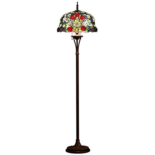 Tiffany Style Floor Lamp, European Rose Design Painted Glass Floor Lamp, Bedroom Living Room Art Floor Light (Rose Light Pendant Glass)