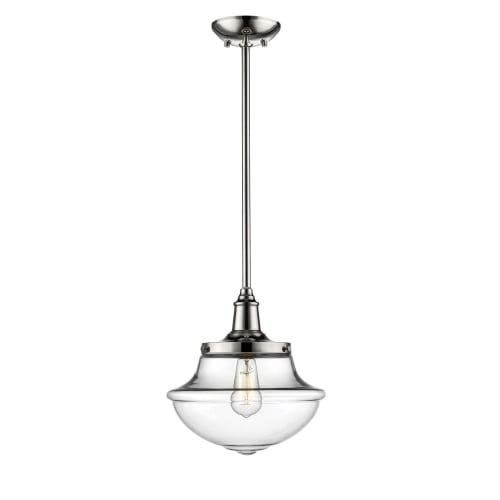 Millennium Lighting Neo-Industrial Polished Nickel One-Light Pendant with Clear Schoolhouse Glass