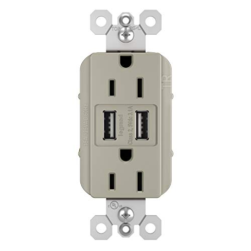 Legrand - Pass & Seymour TM826USBNICCV4 Radiant USB Charger Duplex Tamper-Resistant 15A Wall Power Outlets for Charging Smartphones & Tablets, Nickel from Legrand - Pass & Seymour