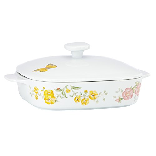 Lenox Butterfly Meadow Square Covered Casserole, 2 piece (Casserole Covered Bakeware)