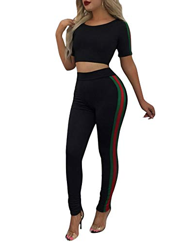 Womens 2 Piece Outfits - Stripe Bodycon Club Outfits Short Sleeve Crop Tops Skinny Long Pants Tracksuit Set