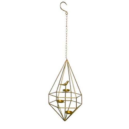 Hangable Candle Holders-Golden Geometric Modern Minimalist Wrought Iron Hanging Chandelier Candle Table Creative Home Garden Cafe Candlestick (Color : B) ()
