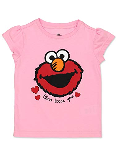 Sesame Street Girls Short Sleeve Tee (12 Months, Elmo Love ()