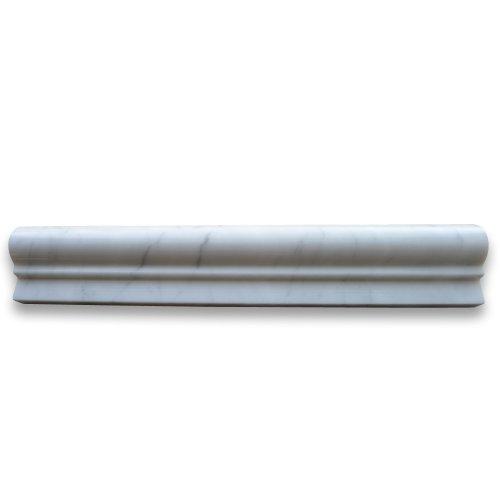(Carrara White Italian Carrera Marble Chair Rail Bullnose Trim Molding 2 x 12 Polished )
