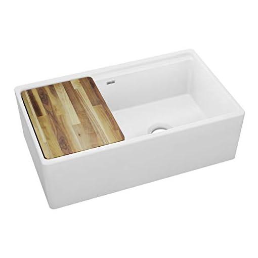 Farmhouse Kitchen Elkay SWUF3320WH Fireclay 60/40 Double Bowl Farmhouse Sink with Aqua Divide, White farmhouse kitchen sinks