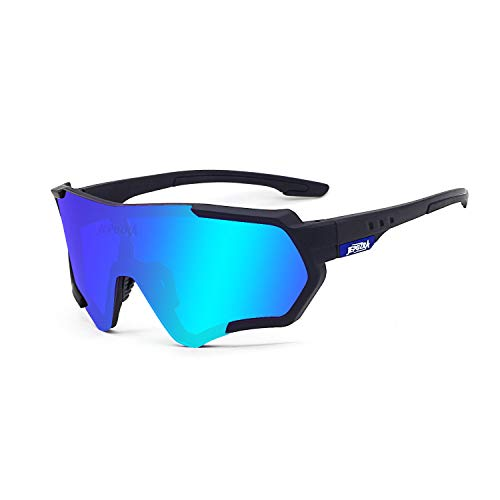 Polarized Sports Sunglasses for Men Women, Bike Glasses with Strap Interchangeable Lens, Bicycle Sunglasses for Driving Cycling Running Fishing Golf Baseball Outdoor Eyewear Shades (blue)