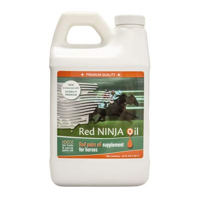 Red Ninja Oil. Red Palm Oil Supplement for Horses. Maximizes Endurance, Intensity and Energy. Supports Healthy Skin and Coat. Helps Regulate Blood Pressure. 64 fl Ounces.