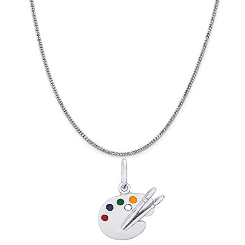 Genuine Rembrandt Charms Sterling Silver Enamel Painted Artist Palette Charm on a Curb Chain Necklace, 18