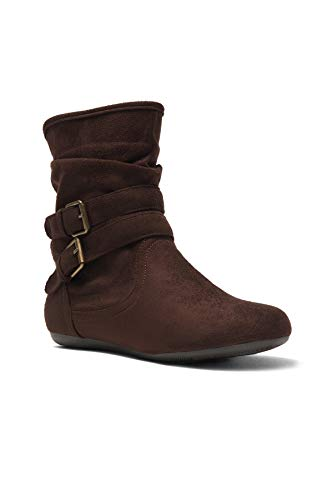 Calf Brown one Heel Slouch Size Brown Lindell Fashion Ankle Side Zipper Women's Herstyle Booties Boots Flat Smaller Runs HqXfw6T