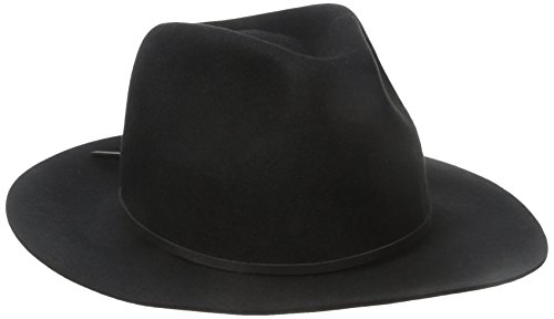 Brixton Men's Wesley Fedora Hat, Black, Large (Felt Fedora Hats)