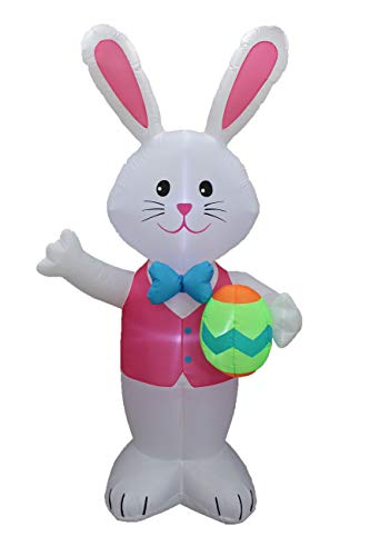 BZB Goods Jumbo 8 Foot Tall Lighted Easter Inflatable Happy Bunny Egg Yard Decoration LED Lights Decor Outdoor Indoor Holiday Decorations, Blow Up Lighted Yard Giant Home Lawn Inflatable -