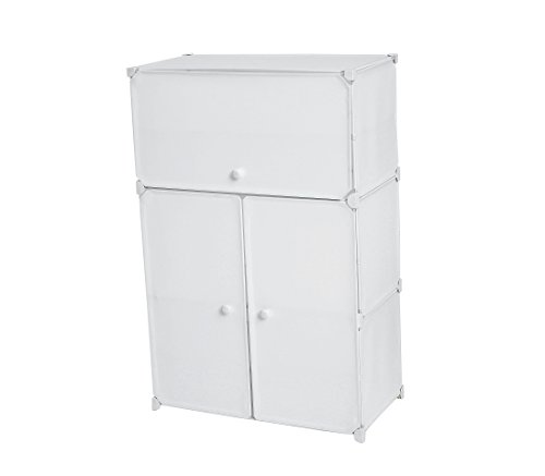 C&AHOME DIY 6-Tiers Shoe Rack Plastic Shoe Storage Organizer Cabinet with Doors, White