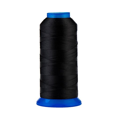 Selric [1500Yards / 130g / 30 Colors Available] UV Resistant High Strength Polyester Thread #69 T70 Size 210D/3 for Upholstery, Outdoor Market, Drapery, Beading, Purses, Leather (Black) ()