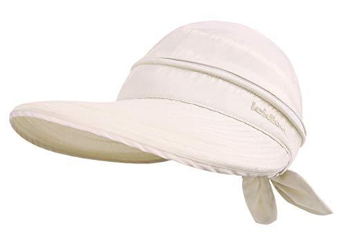 Simplicity Women's UPF 50+ UV Sun Protective Convertible Beach Hat Visor Beige (Live Simply Hat)