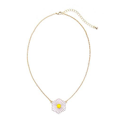 QMM necklace Pendant Enamel Daisy Pendant Necklace Trendy Women Simple Maxi Necklace Fashion Jewelry ()