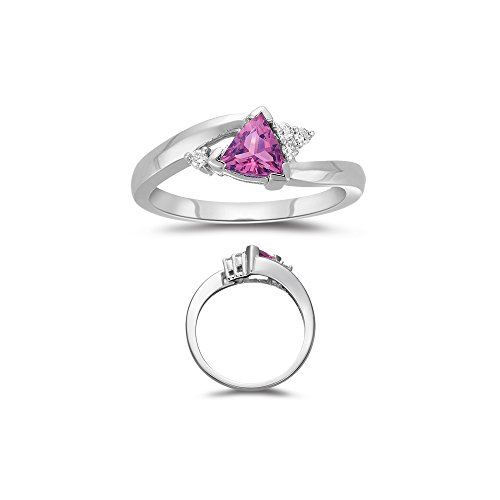 0.08 Cts Diamond & 0.61 Cts of 5.5 mm AAA Pink Tourmaline Ring in 14K White Gold-7.0