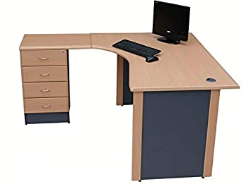 Home Office Corner Desk In 14 Home Office Corner Desk Left Hand With Drawer Pedestal beech