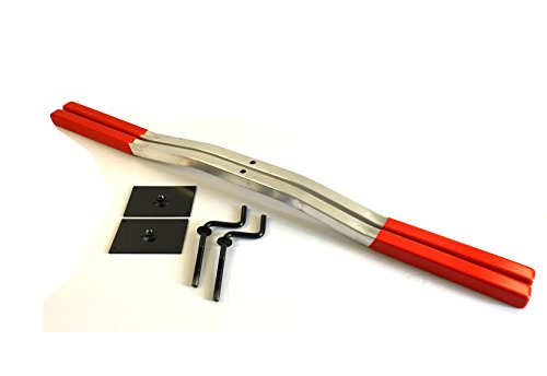 Snowmobile Trailer Ski Tie Down Hold Down Bars Pair Red with Crank and Plate by MMT