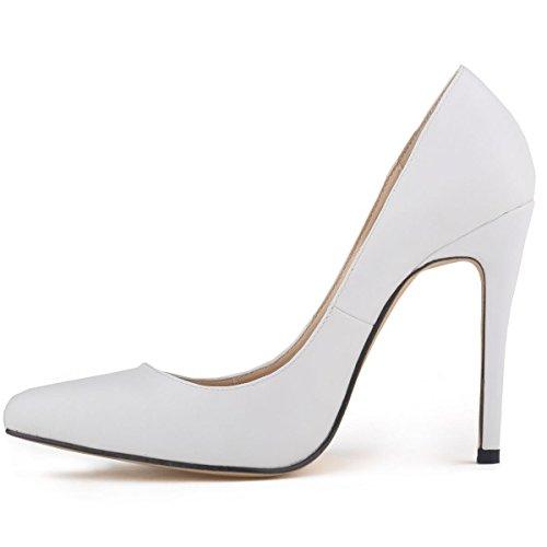 Loslandifen Femmes Bout Fermé Talons Hauts Chaussures En Cuir Mat Blanc