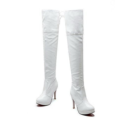 BalaMasa Girls Bandage Stiletto Platform Patent Leather Boots White zGaSKFz