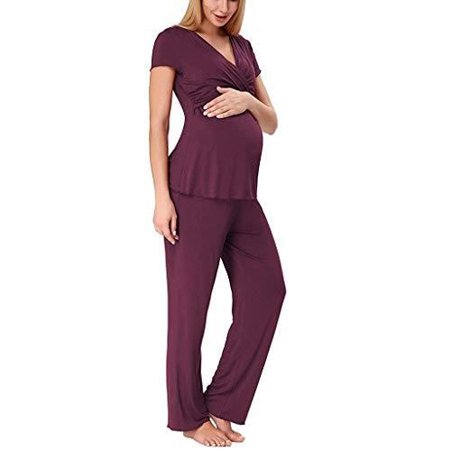 - Women Maternity Nursing Nightgown Short Sleeve V Neck Breastfeeding T Shirt Tops Long Pants Pajamas Set (XXL, Wine)