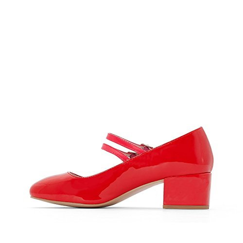 ... La Redoute Mademoiselle R Frau Ballerinas mit Lackoptik und Doppeltem  Riemchen Uni Rot ...