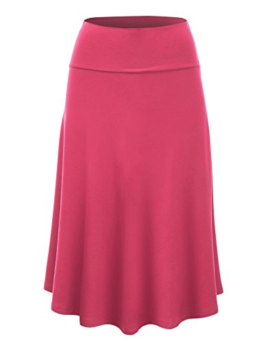 Lock and Love WB1105 Womens Lightweight Fold Over Flared Midi Skirt L ()