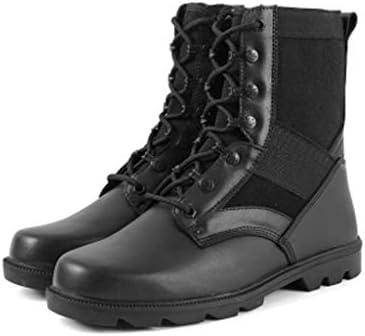 滑り止めのための男性のハイキングブーツポリエステルマイクロファイバーレザーラバーソールのための砂漠の戦闘ブーツレースアップスタイルは、通気性の快適な耐摩耗 (色 : 黒, サイズ : 26 CM)