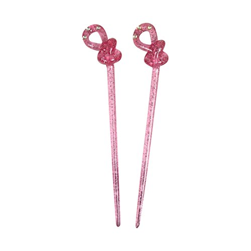 (Set of 2 Knot Hair Sticks with Diamonds and Glitter - Pink)