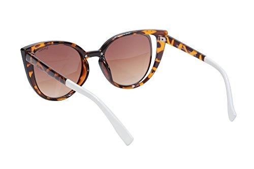 Lunettes Femmes de de demi pour Cadre gradient Rond Eyewear SHINU brown Soleil Lunettes Protection Chat de les de Femmes SH71015 UV400 Retro wXvzq6Z