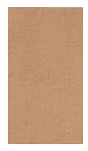 Brown Napkins - 200-Pack Kraft Brown Natural Napkins, Bulk Disposable Rustic Dinner Napkins, 1/6 Fold 2-Ply, Wedding, Restaurant, Catering, Buffet, Party Supplies, Folded 7.8 x 4.4 Inches