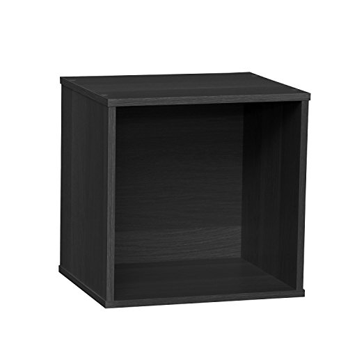 IRIS BAKU Modular Wood Cube Box, Black - Modular 3 Shelf Tv Stand