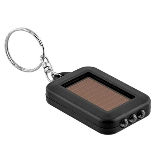 - BIG-DEAL_ABS Mini Portable Solar Power 3 LED Light Keychain Torch Light Flashlight Key Ring Gift Rechargeable Useful