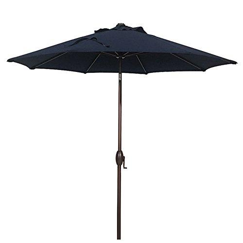Patio Umbrella 9 Feet Outdoor Market Table Umbrella with Auto Tilt and Crank, Canvas Navy (9' Sunbrella Market Umbrella)