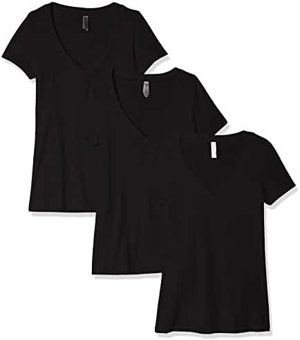 Women's Casual T Shirt Comfy Short Sleeve Pull Over Basic V Neck Top Tee 3PK
