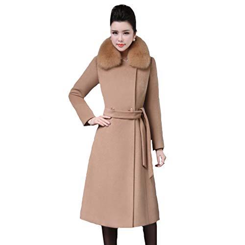 Grande De Para Mujer 1pcs Camel Trench Abrigo Y Mei Coat Cuello Piel Talla S1xR58a
