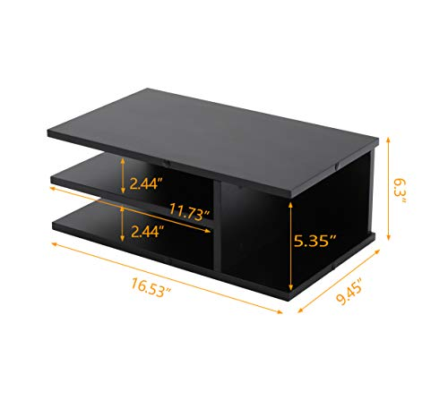 Rfiver Wooden Home Office Supplies Desk Organizer Set, Printer Stands, Computer Tabletop Monitor Riser Stand - 2 Pack, Black DO1003 by Rfiver (Image #2)
