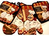4 piece Kitchen Set Italian Chef 2 Potholders & 2 Oven Mitts Set
