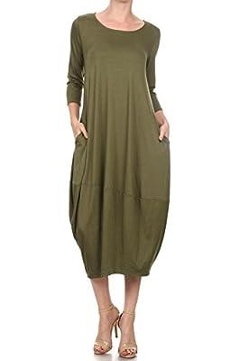 12 Ami Solid 3/4 Sleeve Bubble Hem Pocket Midi Dress - Made in USA