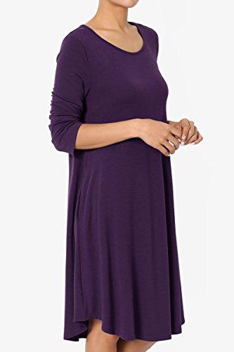 TheMogan Women's 3/4 Sleeve Trapeze Knit Pocket T-Shirt Dress Dark Purple 1XL by TheMogan (Image #3)