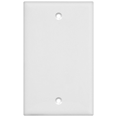 Enerlites Blank Cover Wall Plate, Standard Size 1-Gang, Polycarbonate Thermoplastic, White 8801-W