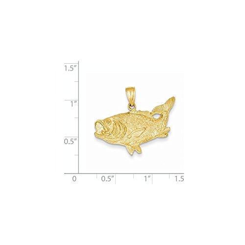 14k Yellow Gold Open Backed Bass Fish Pendant