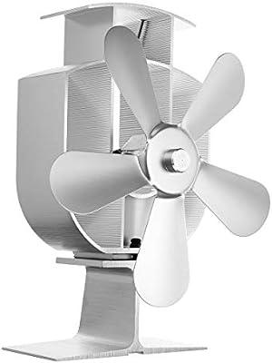 Estufas de leña Estufa Ventilador de 4 paletas del ventilador de calefacción Chimenea Desarrollado Kemin estufa de leña Ventilador de Protección Ambiental tranquila tranquila casa eficiente de plata d: Amazon.es: Hogar