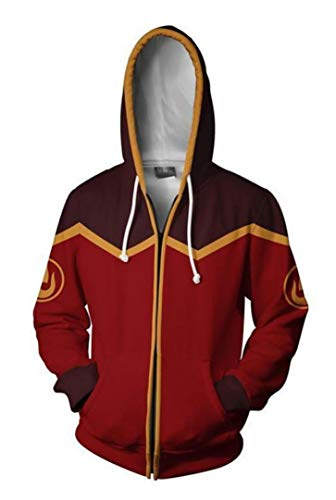 Dawn BG Unisex Adults Avatar Cosplay Costume Hoodie 3D Printed Zipper Jacket (L, Red) ()