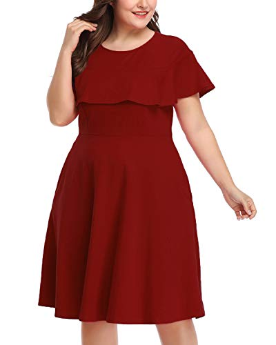 Illusion A-line (Women's Plus Size Crew Neck Illusion Ruffle High Waist A-line Midi Cocktail Dress Wine 22W)