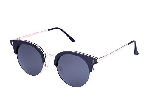(13Fifty Vienna Men's & Women's Clubmaster Sunglasses, Black Gold Round Frame, Smoked Polarized Lenses Retro Women Sun glasses)